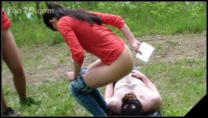[Poo19 com – ScatShop com] SmellyMilana – 2 girls used live toilet in woods  [Scat, Human Toilet, Humiliation, Toilet Slavery]