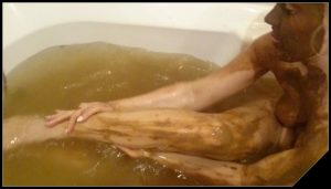 Bathing in shit water  Part 2- Brown wife [Poop Videos, Scat solo, Smearing]