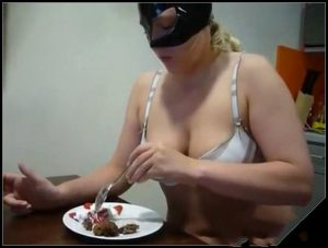 Busty Girl Shitting On And Eating Her Dessert On Webcam