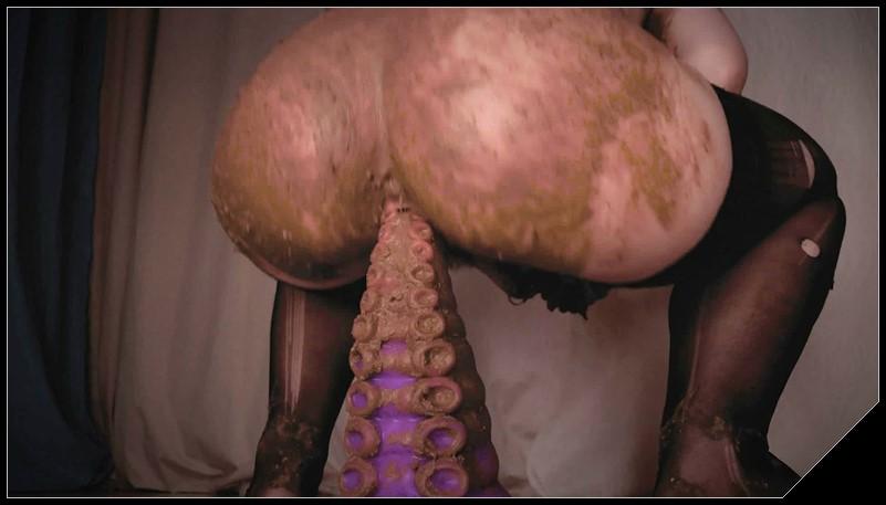 Dirty Riding on Shitty Badass Tentacle [Scat, shit, defecation, smearing,  dildo masturbation, eat shit  ]