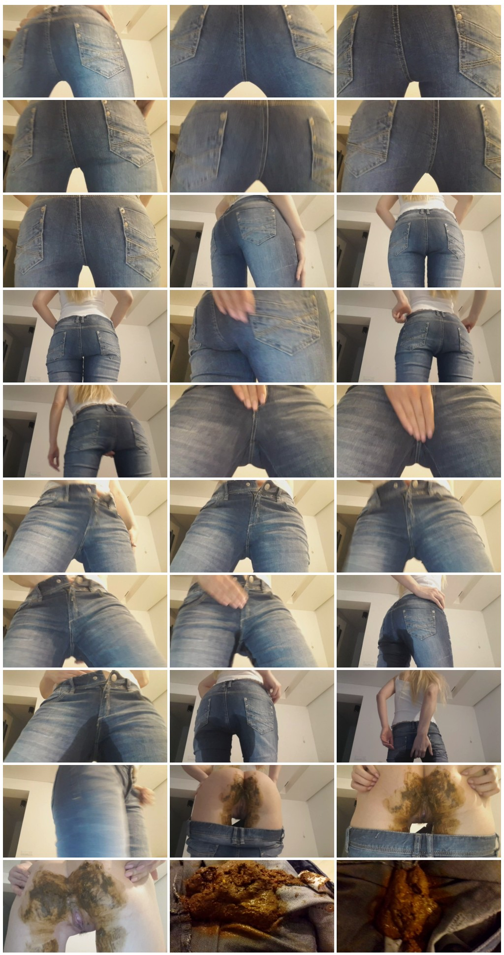 Thefartbabes - Blonde Hard Rub Jeans Poop [Scat, shit,defecation, jeans in shit, piss,smearing, shitty ass, masturbation]