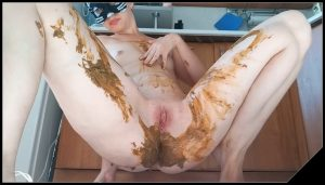 Nastygirl – Pooping in Sexy Transparent Underwear and Smearing [Scat solo, shit, defecation, Masturbation, Panty pooping, Big Shit, Smearing]