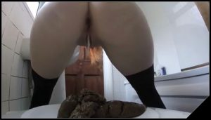 White girl shit with slime drop – [Scat solo, shit, defecation, Big Shit, Masturbation]