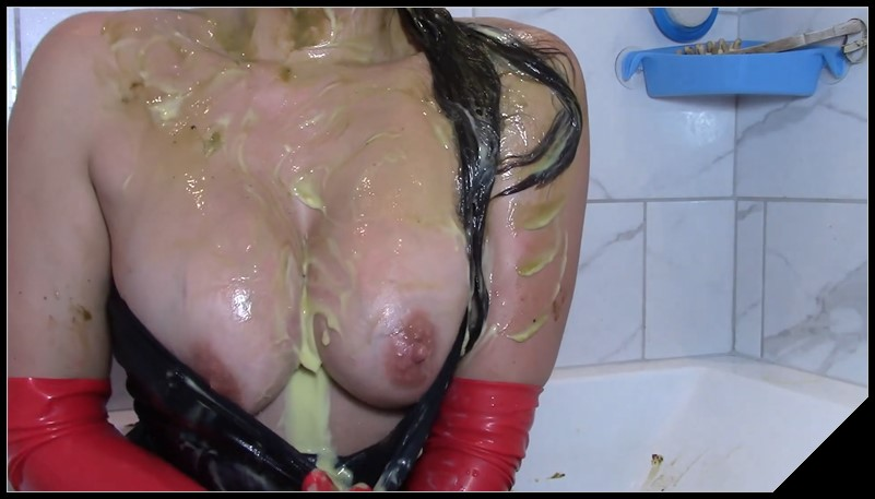EvaMarie88 - Scat And Custard Shampoo [Scat solo, shit, defecation, Pissing, Big Shit, Dirty anal, Smearing, Masturbation]