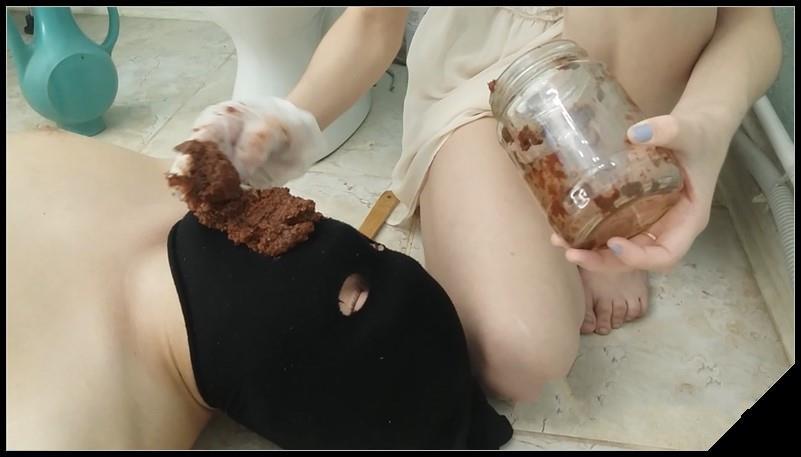 Toilet slave swallows Alina shit [Scat,  shit, defecation, Femdom ,Toilet Slavery,Face shit, Domination, Eat shit]