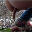Alina pooping in autumn forest [Scat , shit, defecation, Pissing, Big Shit, Dirty Ass]