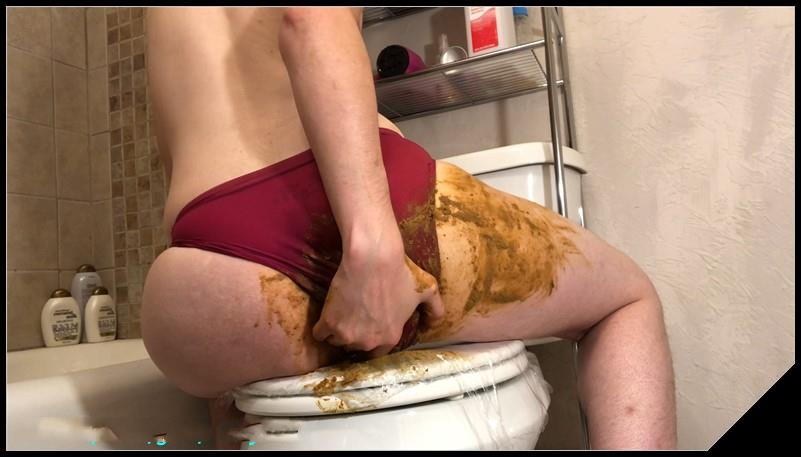Panty Poop and Piss in Mouth [Scat solo, shit, defecation, Masturbation, Panty pooping, Smearing, Fingering]