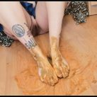 Badkithy - Feet Smeared on My Poop Dirty [Scat solo, shit, defecation, Pissing,  Masturbation, Smearing]